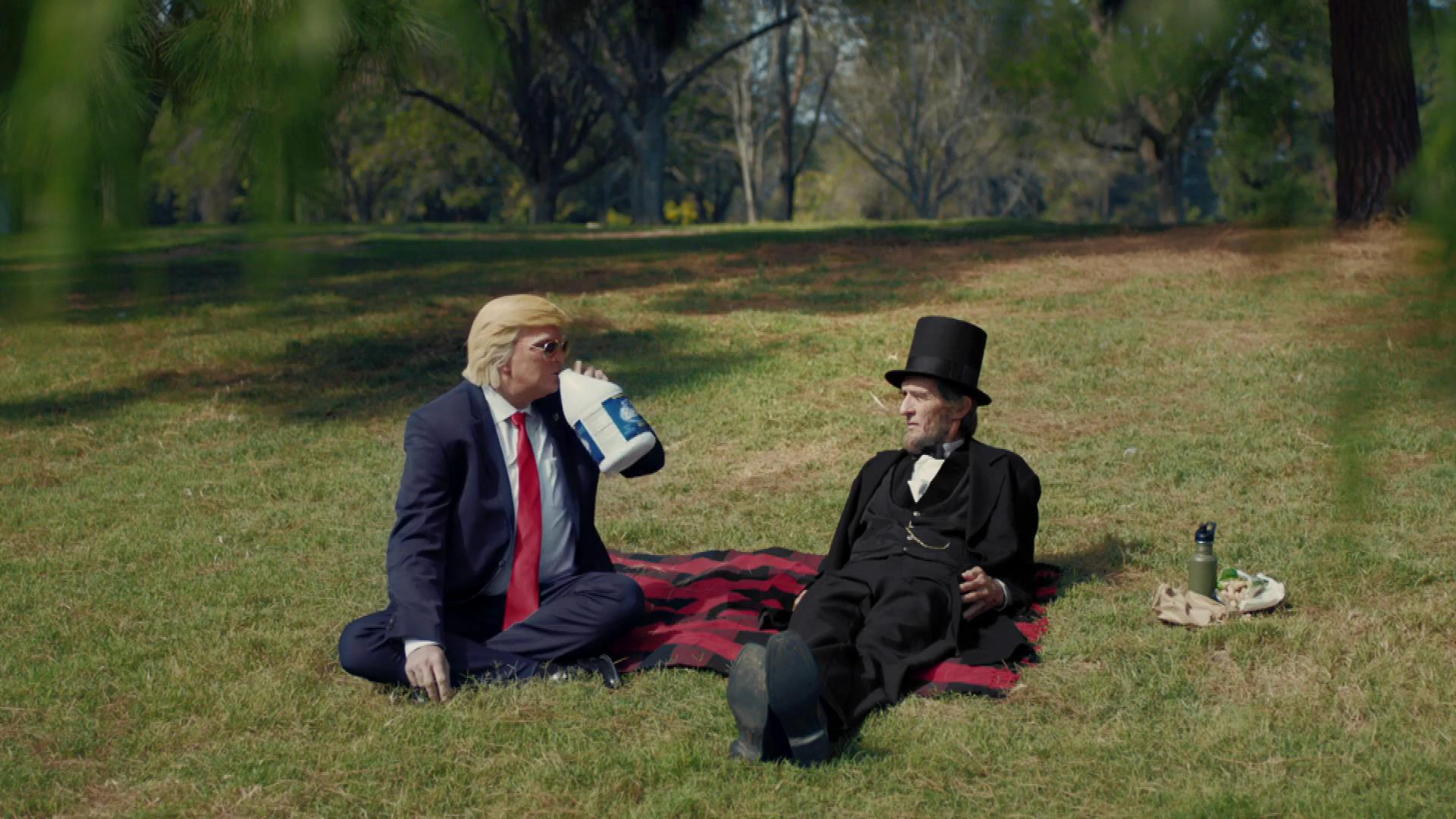 Trump joins Lincoln in fields.